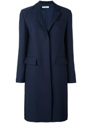 Versace Long Concealed Fastening Coat Blue