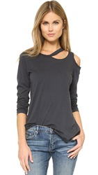 Lna Long Sleeve Slash Tee Charcoal
