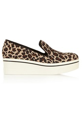 Stella Mccartney Leopard Print Canvas Slip On Sneakers Animal Print