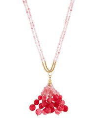 Lydell Nyc Long Double Strand Ombre Beaded Tassel Necklace Pink