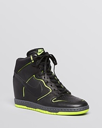 Nike Lace Up High Top Wedge Sneakers Women's Dunk Sky Hi Cut Out
