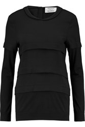 Pringle Of Scotland Tiered Crepe And Jersey Top Black