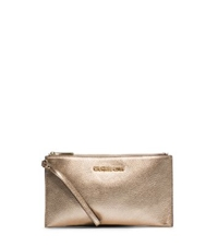 Michael Kors Bedford Metallic Leather Large Clutch Pale Gold