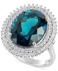 Macy's Blue Topaz 12 Ct. T.W. And Diamond 4 5 Ct. T.W. Ring In 14K White Gold