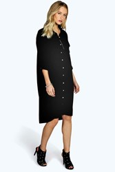 Boohoo Military Pocket Oversized Shirt Dress Black