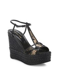 Sergio Rossi Puzzle Leather And Calf Hair Espadrille Wedge Sandals Brown Multi