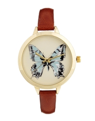 Asos Butterfly Large Face Slim Strap Watch Brown
