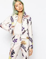 Asos Textured Large Floral Blazer Co Ord Floral Multi