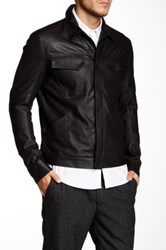 Helmut Lang Leather Trucker Jacket Black