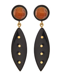 Ashley Pittman Carnelian Bronze Leaf Earrings Dark Horn