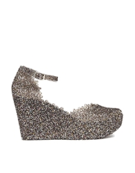 London Rebel Jelly Wedge Sandals Silver