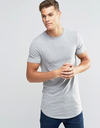 Asos Super Longline Muscle T Shirt With Curved Hem In Grey Marl Grey Marl