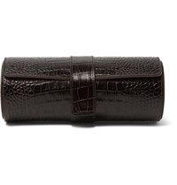Smythson Mara Croc Effect Leather Watch Roll Brown