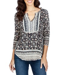 Lucky Brand Printed Cotton Blend Tunic Green Multi