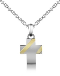 Forzieri Stainless Steel Cross Pendant Necklace Silver