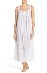 Women's Eileen West Swiss Dot Cotton Nightgown Solid White