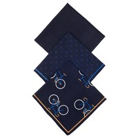 John Lewis Bike Handkerchief Pack Of 3 Navy