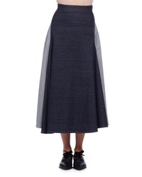 Lanvin Denim Circle Midi Skirt Indigo
