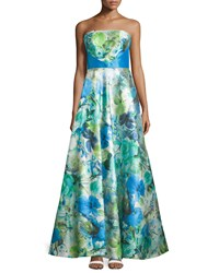 Theia Watercolor Print Strapless A Line Gown Azure Floral