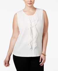 Charter Club Plus Size Ruffled Sleeveless Top Only At Macy's Cloud