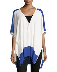 Neiman Marcus Colorblock High Low Poncho Ivory Navy