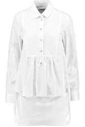 Temperley London Cyril Pintucked Cotton Poplin Shirt White