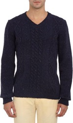 Basco Flecked Cable Knit V Neck Sweater Blue