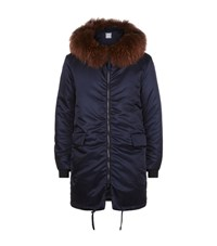 Wooyoungmi Satin Down Filled Fur Trim Coat Male Navy