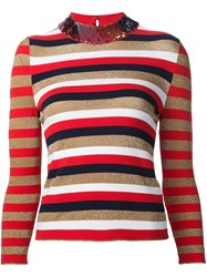 Sonia Rykiel Sequined Collar Sweater Red