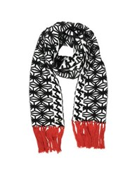 Dsquared Black And White Knit Long Scarf W Red Fringe Black White