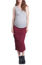Lilac Clothing Women's Ruched Maternity Tank Grey Ivory Stripe