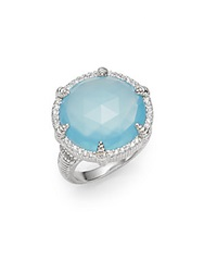 Judith Ripka Eclipse Aqua Chalcedony White Sapphire And Sterling Silver Ring Silver Blue