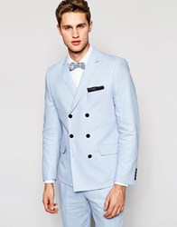 French Connection Double Breasted Linen Suit Jacket Blue
