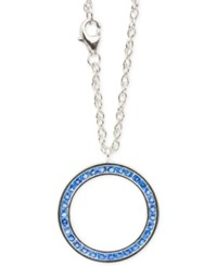 Macy's Blue Topaz Accent Round Pendant Necklace In Sterling Silver