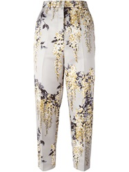 Rochas Floral Print Cropped Trousers Nude And Neutrals