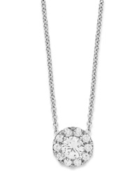 Macy's Diamond Halo Pendant Necklace In 14K White Gold 1 3 Ct. T.W.