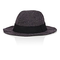Barena Venezia Men's Houndstooth Wool Blend Foldable Fedora Grey Green Burgundy Grey Green Burgundy