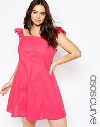 Asos Curve Button Front Sundress With Frill Sleeve Pink