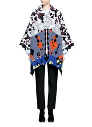Peter Pilotto Hooded Diamond Pattern Ottoman Knit Cape Multi Colour