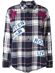 Sold Out Frvr Printed Plaid Shirt Blue
