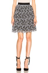 Self Portrait Daisy Guipere Gathered Mini Skirt In Floral Abstract