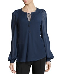 Marchesa Voyage Crochet Dotted Tie Front Blouse Navy