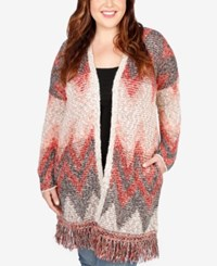 Lucky Brand Trendy Plus Size Chevron Intarsia Fringe Cardigan Medium Red