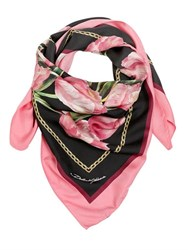 Dolce And Gabbana Tulips Printed Silk Twill Scarf