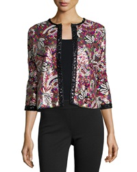 Michael Simon Paisley Sequined Cardigan Petite