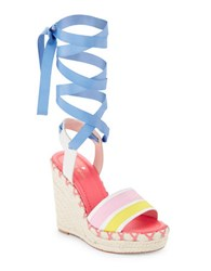 Kate Spade Danah Leather Lace Up Platform Sandals Multicolored