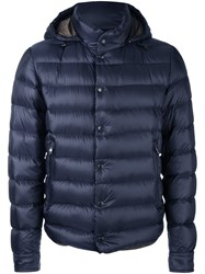 Moncler Hooded Padded Jacket Blue