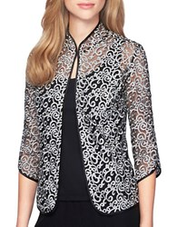 Alex Evenings Scalloped Two Piece Twinset Black Silver