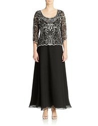 J Kara Three Quarter Sleeve Filigree Sequined And Beaded Chiffon Gown Black White Silver