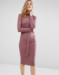 Missguided Exclusive Belt High Neck Ribbed Midi Dress Plum Purple